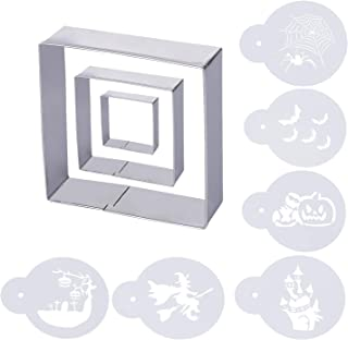 HomyPlaza 3 pcs square cookie cutter stainless steel cookie mold with 6 pcs Halloween DIY Printed card for Making Cookies Muffins, Biscuits, Sandwiches