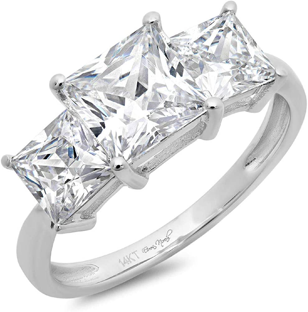 3.0 CT Three Stone Princess Cut Simulated Diamond CZ Solitaire Ring Engagement Wedding Band 14K White Gold
