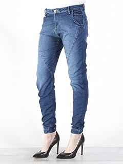 Jewelly Pantaloni lunghi cavallo basso jeans con ricamo