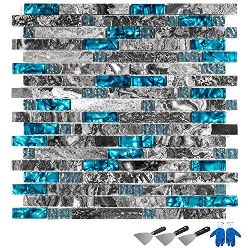 Guellin 11 PCS Azulejos de Mosaico de Cristal 30X30X8CM Azulejos de Mosaico Baldosas de Cerámica para Piscinas, Baño, Cocina Mosaic Tile