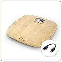 LITTLE BALANCE - Pèse-personne sans piles - Rechargement USB - 180 KG / 100 g - Design Bambou
