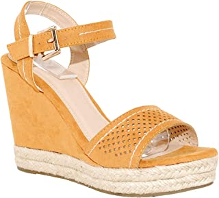 2432bef8103b TRENDSup Collection Women s Light Weight Open Toe Ankle Wrap Casual Espadrille  Wedge Heel Sandal