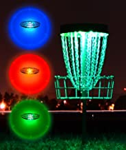 GlowCity Light-Up Disc Golf Set – 3 x LED Glow-in-The-Dark Discs - Driver Mid-Range and Putter with 2 x Remote Control Disc Puck Lights for Basket (excludes Basket)