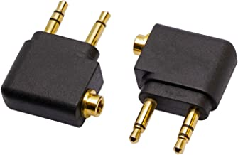 Mini Skater 2Pcs Golden Plated Airplane Airline Flight Adapters AUX Audio Adapter Converter for Headphone, Dual 3.5mm Male to 3.5mm Female