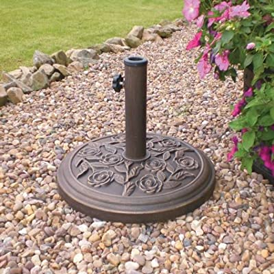 New Naples Heavy Duty Metal Rose Patterned Parasol Base Patio