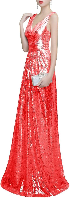 JudyBridal Womens Elegant V Neck Prom Dress Long Formal Evening Dress Sequin