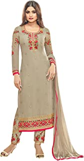 Women's Ready made Embroidered Straight Suit (Beige_10006)