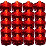 JYtrend Super Bright LED Floral Tea Light Submersible Lights for Party Wedding (Red, 20 Pack)