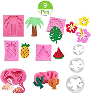 Jasonsy Hawaiian Tropical Rain Forest Theme Cake Fondant Mold Set,Flamingo/Pineapple/Cactus/Watermelon/Tropical Leaf/Coconut Palm Tree/Coconut Tree Flower Candy Silicone Mold Cake Decoration(9 pcs)