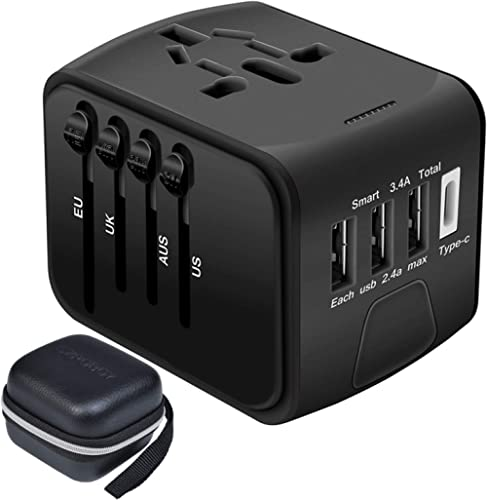 Travel Adapter,Universal Travel Adapter,All-in-one International USB Travel Adapter with High Speed 2.4A 4-port USB C...