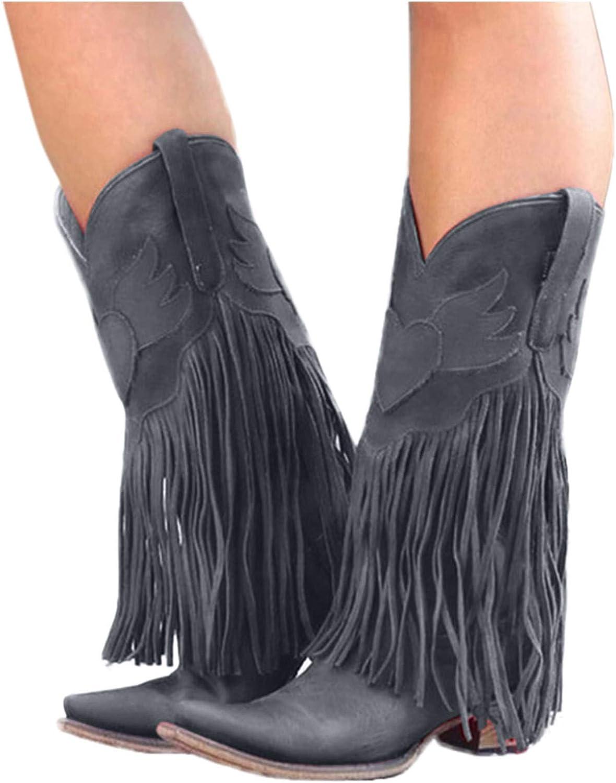 Cowboy Boots for Women Tassel Ankle Low Heel Western Cowboy Boots Women Round Toe Cowgirl Boots Women