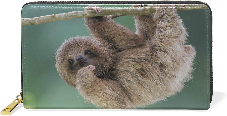 Women's Galaxy Sloth Earth Leather Wallet Cute Girl Zipper Clutch Purse