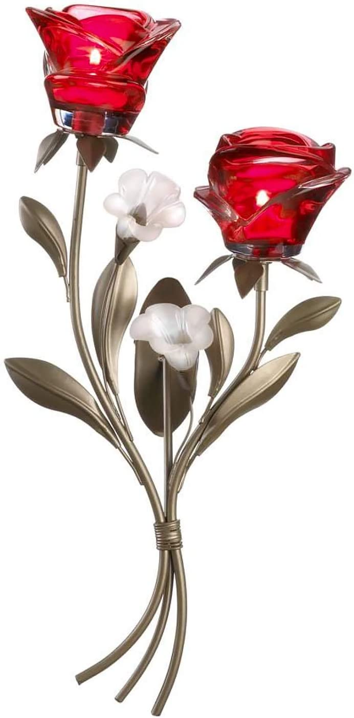 Nayoli Romantic Red Roses Wall Sconce Ranking TOP7 Day Valentine's Selling Can Rose