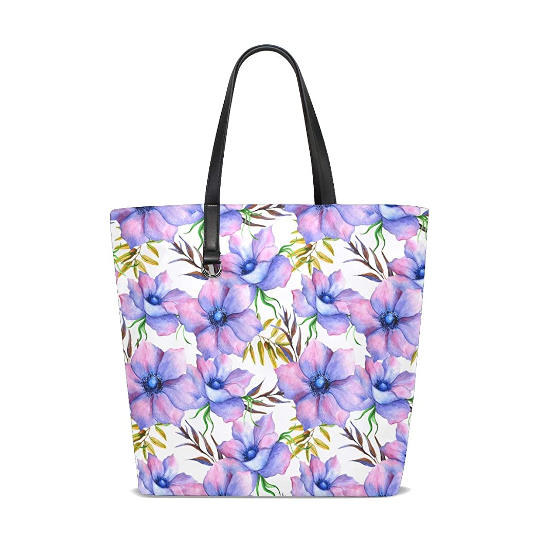 予備志す相対的トートバッグ かばん ポリエステル+レザー 青い花 木ノ葉柄 両面使える 大容量 通勤通学 メンズ レディース