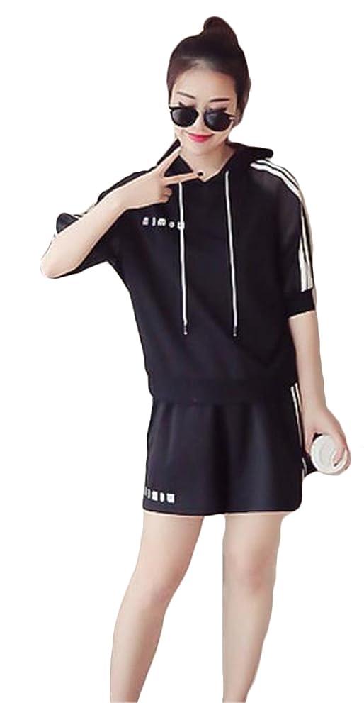 スロー判定柔らかい足セットアップ Tシャツ+ショートパンツ 上下セット パーカー スウェット ウィンドブレーカー スポーツ カジュアル ボタン フォーマル きれいめ 無地 シンプル ゆったり おしゃれ 通気性 薄手 夏 通学 ルームウェア ファッション 黒白