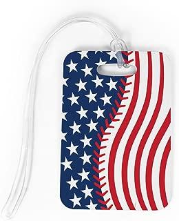 Baseball Luggage & Bag Tag | American Flag Baseball | Custom Info on Back | MEDIUM