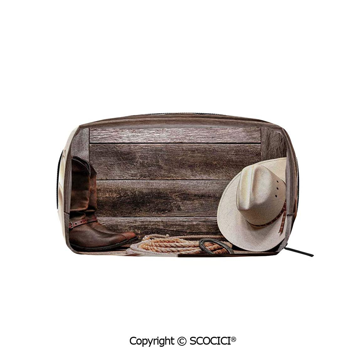Rectangle Organizer Toiletry Makeup Bags Pouch American West Rodeo White Straw Cowboy Hat with Lariat Leather Boots on Rustic Barn Wood Portable Makeup Brushes Bag