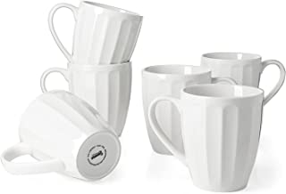 Sweese 602.001 Porcelain Fluted Mugs - 14 Ounce for Coffee, Tea, Cocoa, Set of 6, White