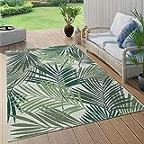 Paco Home Outdoor Teppich Terrasse u. Balkon, Küchenteppich Im Modernen Greenery Boho Look, Grösse:120x170 cm, Farbe:Grün