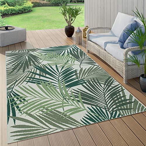 Paco Home Outdoor Teppich Terrasse u. Balkon, Küchenteppich Im Modernen Greenery Boho Look, Grösse:140x200 cm, Farbe:Grün