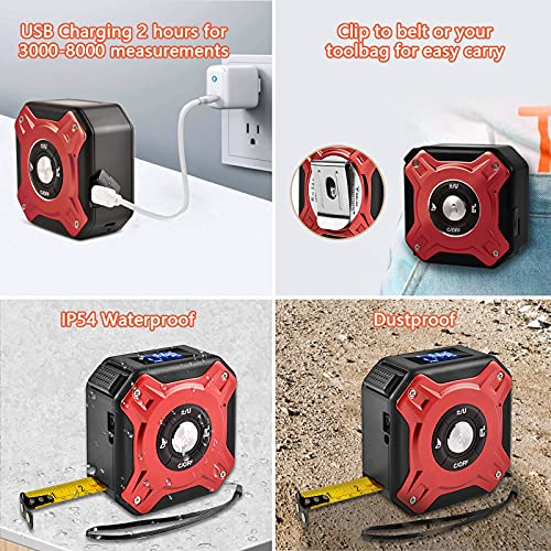Digital Laser Tape Measure 2-in-1, BOLWEO 131Ft USB Laser Measure Tape 16Ft, M/In/Ft Electronic Laser Distance Meters LCD Measuring Ruler Construction Tools Lazer Measurement Tape Gifts for Realtors