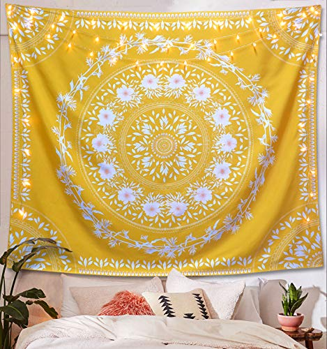 Lifeel Yellow Bohemian Tapestry Wall Hanging, Mandala Floral Medallion Hippie Tapestry with White Aesthetic Wreath Design, Gold Wall Decor Blanket for Bedroom Home Dorm,Large 68×80 inches