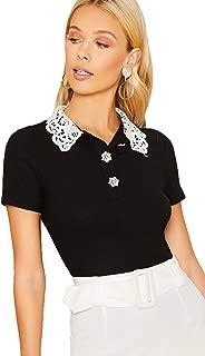 Verdusa Women's Guipure Lace Collar Short Sleeve Rib-Knit Tee Top
