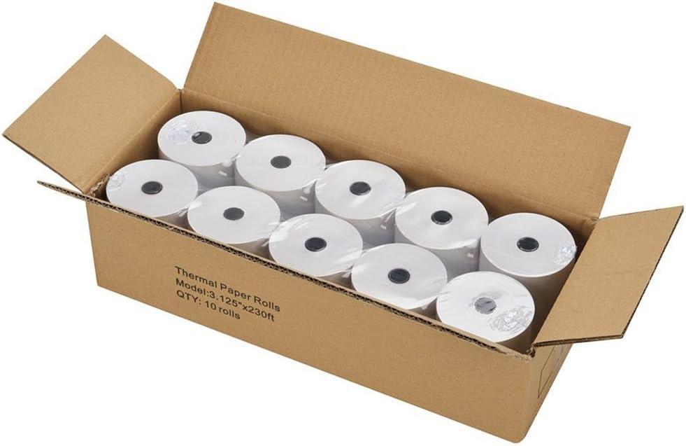 SJPACK Thermal Paper 3 1/8 x 230ft Pos Receipt Paper, 10 Rolls Cash Register Roll TM-T88 T-20 T-90 SRP-350 370 : Office Products