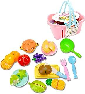 Coxeer Cutting Toy Set Creative Cutting Food Set Play Kitchen Kit Toy with Basket