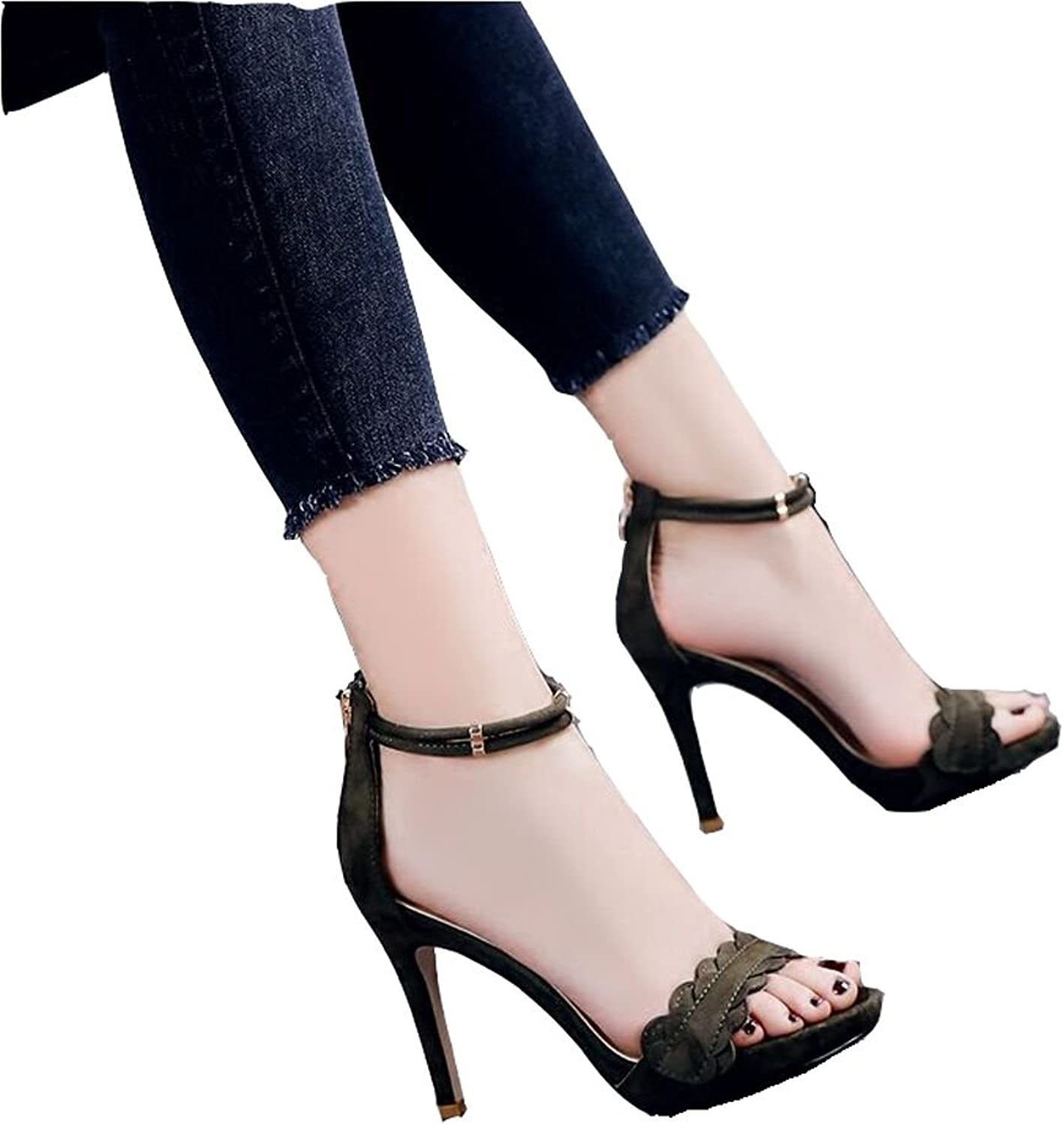 Heels Shoes Faithful Super Sexy High Heels Black Sandals Women 10cm Stiletto Open Toe Ankle Mesh Patent Leather Party Ladies Gladiator Dress Shoes