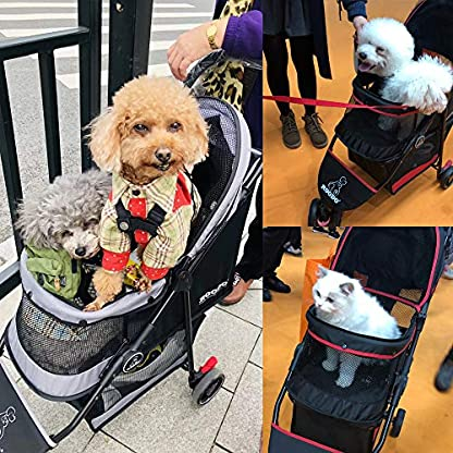 ROODO Escort Pet Stroller Dog and cat pet Three-Wheeled cart - Lightweight, Compact, Portable, Practical, Removable, Change Color (Black special edition) 9