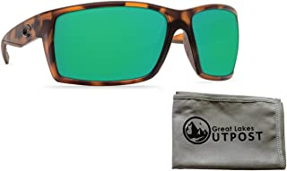 Costa Reefton Matte Retro Tort Green Mirror 580G Sunglasses Bundle with Cloth