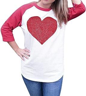 77480fb58d243 Women Blouse,Kstare Women s Valentine s Day Long Sleeve Round Neck Love  Heart