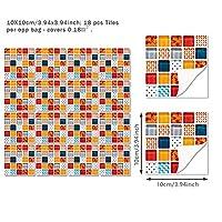 3Dホームモザイクの壁のステッカーレトロなシミュレーションのつや消しタイルステッカークロスボーダー防水ウエストラインDIYキッチンバスルーム (Color : B, Size : 10x10CM18pc)