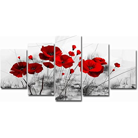 Red Poppy Flower Cool Abstract Canvas Wall Art Large Picture Prints
