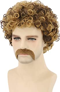 Topcosplay Men's Wig 70s Disco Dude Dirt Bag Wig & Moustache Short Curly Afro Shaggy Wig Blonde Mixed Brown