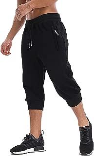 MAGNIVIT Men's 3/4 Jogger Capri Pants Workout Gym Below Knee Shorts Zipper Pockets