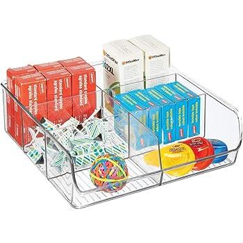 mDesign Organizador de cajones abierto para material de manualidades y de oficina – Práctica caja organizadora con 6 compartimentos – Bandeja de plástico para cajones y armarios – transparente: Amazon.es: Hogar