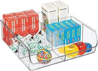 mDesign boîte de rangement ouverte pour les articles de bureau ou de bricolage – boîte en plastique pratique à 6 compartim...