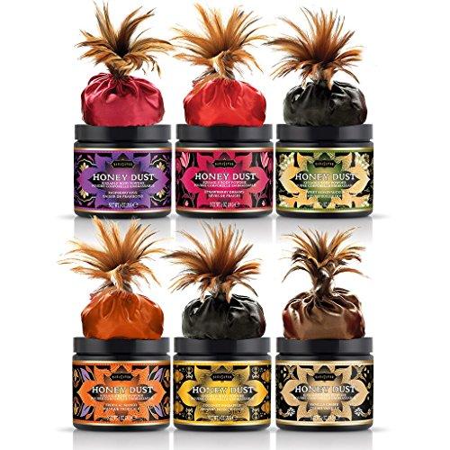 Kama Sutra Honey Dust Body Powder, Set of 6 - Strawberry, Raspberry, Vanilla Creme, Coconut Pineapple, Tropical Mango, & Honeysuckle