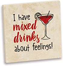 product image for Imagine Design Relatively Funny I Have Mixed Drinks, Travertine Coaster, One Size, Red/Black/White