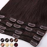 Extension a Clip Cheveux Naturel Rajout Cheveux Humains Naturels - 100% Remy Human Hair Haute Qualité (#02 Chocolat foncé, 25cm-70g)