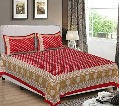 Urban Trends 90'x106' King Size 100% Cotton Rajasthani Jaipuri Sanganeri Print Tradition Double Bed Sheet with 2 Pillow Covers