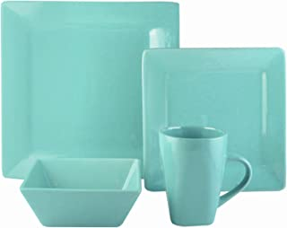 American Atelier 7219-16-RB Casual Dinnerware Set – 16-Piece Stoneware Party Collection w/ 4 Dinner Salad Plates, 4 Bowls & 4 Mugs – Gift Idea for Any Occasion, Square, Turquoise
