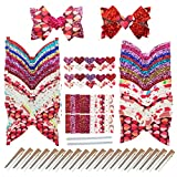 AOUXSEEM Faux Leather Hair Bows DIY Making Kit with Pre Cut Pieces and Hair Clips,Make Fashionable Shiny Hair Clips for Girls Lady Woman (Medium,Love Pattern,20 Set)