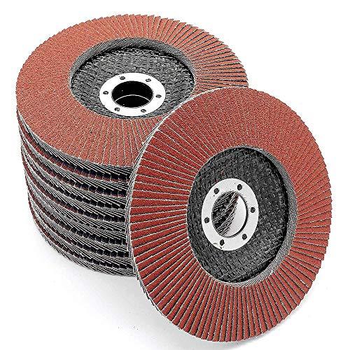 Youery 10 Piezas Discos Abrasivo Disco de Láminas Disco para Amoladoras Angulares ø 115 mm 60 Grano para Acero Inoxidable,Metal,Acero y Madera