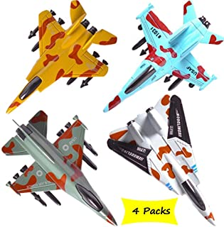 CORPER TOYS Airplane Toys Set Die Cast Metal Military Fighter Jets for Kids Boy Pullback Plane Model Pack of 4