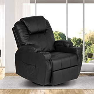 PieDle Massage Chair Single Reclining Sofa, Padded Seat PU Leather Recliner for Home Theater, w/Vibration and Heat, Remote Control, 2 Cup Holders, 4 Pockets (Black)