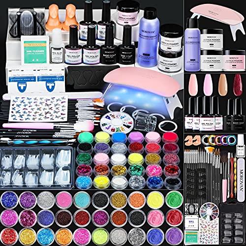 Morovan Acrylic Nail Kit with Everything - for Beginners Nail Supplies, Gel Nail Polish Kit with UV Light 6W, Glitter Acrylic Powder Monomer UV Gel Acrylic Nails Extension Nail Art Starter Kit