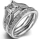 Acero inoxidable corte princesa Juego de anillo de compromis